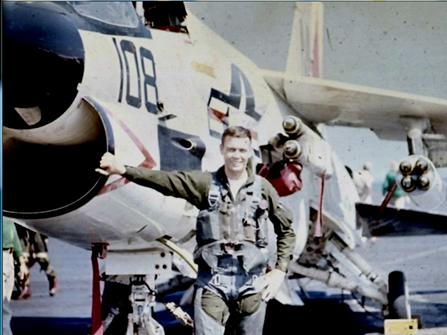 "LTJG Willie Sharp with ""Feedbag 108,"" his favorite F-8"